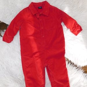Gap Red corduroy onsie